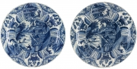 A Pair of Lambertus van Eenhoorn Chargers in Blue and White Delftware