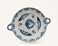 A Dutch Delft Blue and White two-handled Fish Strainer