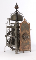 A South-German iron striking renaissance chamber clock with alarm, dated 1608
