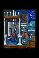 """Een Limoges emaille plaquette met een voorstelling van """"De Geboorte van Christus"""" toegeschreven aan Pierre Reymond (1513-1584)"""