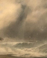 W.G.F. Jansen: watercolour 'Rough sea near Holyhead'