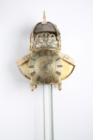 A good English brass striking and alarm 'wings' lantern clock, circa 1680