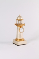 A French gilt and silvered lighthouse timepiece with duplex escapement, circa 1850.