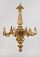 Italian Carved Gilt Pinewood Louis XVI Chandelier