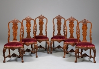 Six Dutch Louis XV Carved Walnut Chairs
