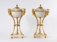 A pair of French Louis XVI ormolu and white marble 'brûle-parfums', circa 1780