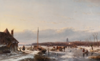 Skaters on the ice near Zaltbommel, The Netherlands - Andreas Schelfhout
