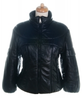 Prada Black Leather Puffer Jacket