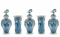 A Five-Piece Delft Mantel Garniture