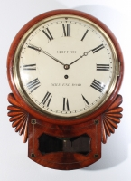 An attractive English mahogany trunk dial wall timepiece signed Griffith Mile End Road, circa 1830