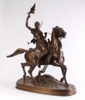 The Arab Falconer, a fine bronze statue by Pierre Jules Mene 1810 - 1879