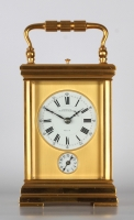 A fine French gilt brass Corniche carriage clock with quarter repeat and alarm, Ecalle, circa 1880
