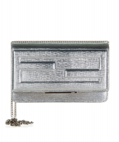 Fendi Tube Wallet On Chain in Silver Leather - Fendi