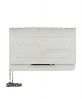 Fendi Tube Wallet on Chain In White Python Leather