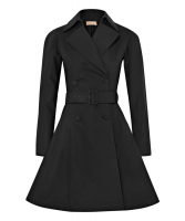 Alaïa Belted Trench Coat in Black Cotton-Blend Gabardine