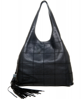 Chanel Black Square Stitch Tassel Hobo Bag