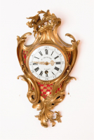 A French Louis XV ormolu 'cartel d'alcove', wall clock, Etienne Dechamp Paris, circa 1750