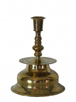 Brass Nurnberg candlestick with mark on rim, about 1600.