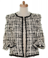 Chanel Black & White Fantasty Tweed Jacket 03C
