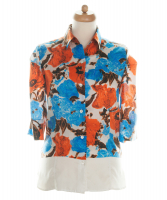 SS 2008 Dries van Noten Silk Short Sleeve Blouse