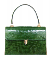 Vintage Emerald Green Crocodile Box Top Handle - Designer Unknown