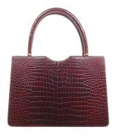 Vintage Burgundy Crocodile Top Handle - Designer Unknown