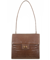 Vintage Cognac Crocodile Shoulder Bag