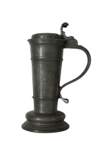 "German pewter tankard, a so called ""rorken"", made by: Gerdt Bothe, Lübeck, gedateerd 1687."