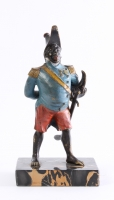 A cold painted bronze model of general Toussaint-Louverture on portor base, circa 1880