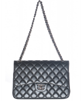 Chanel Grey Quilted Lambskin Leather Classic Large Double Flap Bag