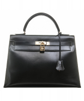 Hermès Kelly 32 Sellier Black Box Gold Hardware