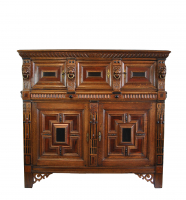 Exceptional fivedoor Dutch cupboard, 17th century.