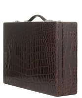 Vintage Brown Crocodile Skin Jewelry Travel Case - Designer Unknown