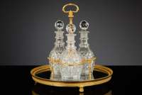 French Empire Surtout with Three Crystal Decanters