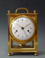 Fine gilt bronze French carriage clock,  signed Le Paute à Paris, dated 1809.