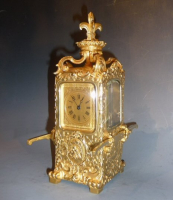 Exclusive gilt bronze portable coach clock, by Lawson & Son, Paris, France circa 1890.