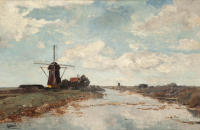 View on the Proosdijer windmill on the river Winkel near Abcoude - Paul Joseph Constantin (Constant) Gabriël