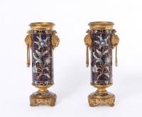 A pair of French gilt bronze cloisonné enamel Oriental vases by Susse Frères, circa 1900