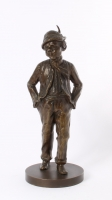 'walking peasant', lost wax patinated bronze sculpture, circa 1900.