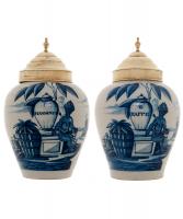 A Pair VOC Tobaccojars in Dutch Delftware