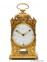 A French Louis XVI ormolu quarter striking pendule d'officier, LeFebvre A Fontainebleau, circa 1770