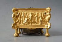 A square horizontal gilt brass table clock, signed Albrecht à Berlin, circa 1700.