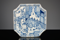 Blue-and-White Delft tray with chinoiserie decoration