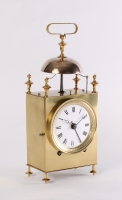 A French brass striking alarm 'Capucine' travel clock, circa 1830