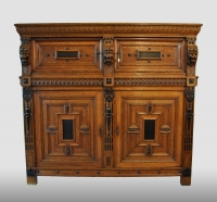 "Dutch renaissance four-door cupboard with drawer, a so called ""zeeuw"", 17th century."