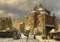 De Waag, Nieuwmarkt, Amsterdam in wintertime. Dutch romantic painting