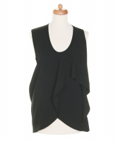 Balenciaga Black Draped Dip Hem Top - Balenciaga