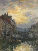 Sluis te Amsterdam bij zonsondergang 1903 - Johan Hendrik van Mastenbroek