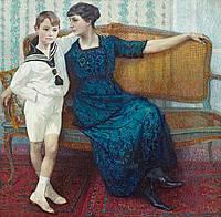 Madame Maria De Smet en haar zoon Marcel 1915 - Léon De Smet