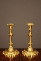 A pair of Louis XIV style ormolu candelabra, 19th century.